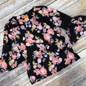 Ruby Rd. Geo Flora Asian Floral Top Tunic Blouse